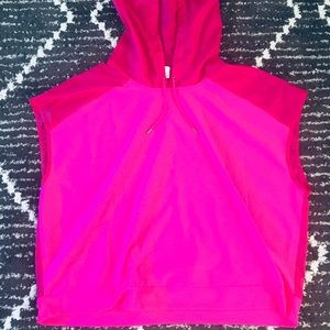 Cute lightweight colorblock pink hooded pullover